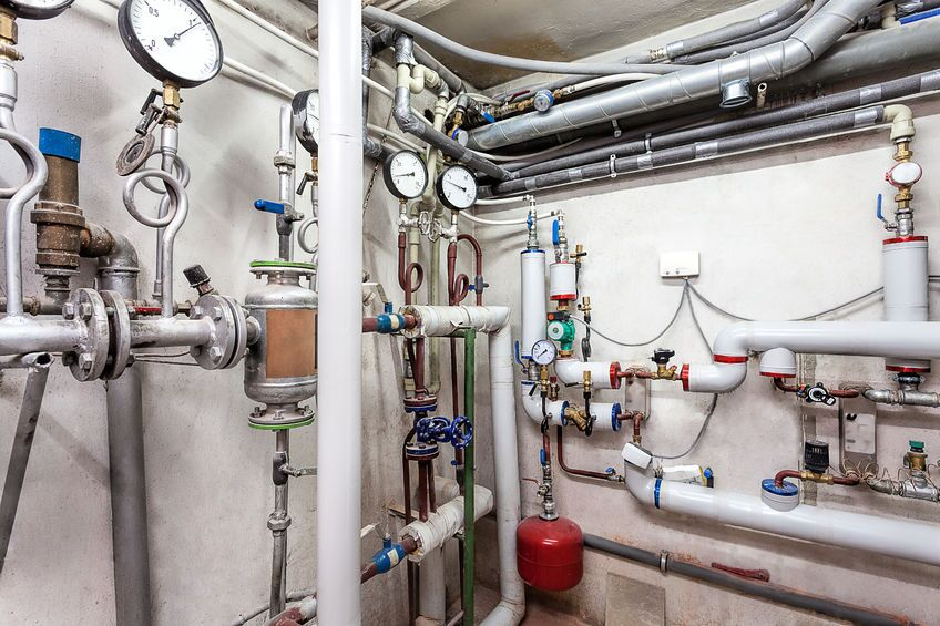Pipes in basement commercial heating